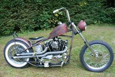 Photo of 1972 Harley Sportster Ironhead Bobber Motorcycle with Paughco Hardtail Frame by Pedro.