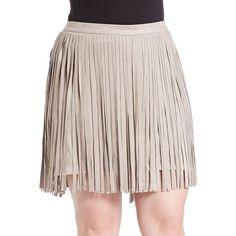 Bb Dakota Plus Faux Suede Fringe Skirt ($43) ❤ liked on Polyvore featuring skirts, beige, pink skirt, long skirts, faux-leather skirts, long beige skirt and bb dakota skirt