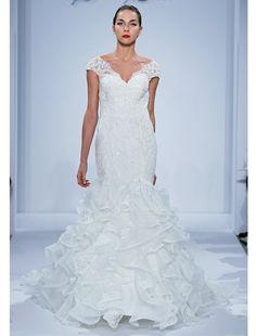 Bridal Gowns: Dennis Basso Mermaid Wedding Dress with V-Neck Neckline and Dropped Waist Waistline