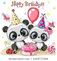 Two Cute Pandas and ladybug with balloon and bonnets. Birthday card with Two Cute Pandas and ladybug with balloon and bonnets stock illustration Happy Birthday Images, Happy Birthday Greetings, Birthday Wishes, Birthday Cards, Cute Panda Cartoon, Share Pictures, Panda Birthday, Animated Gifs, Panda Party