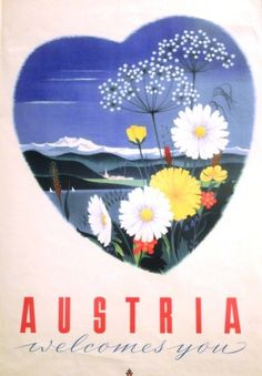 Pan Am - Austria welcomes you - - (Hanns Wagula) - Harry Potter Poster, Central Europe, Vintage Travel Posters, Austria Travel, The Incredibles, Homeland, Landscapes, Art, Events