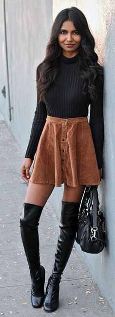 Camel Suede Button Up Skirt Streetstyle by Tuolomee