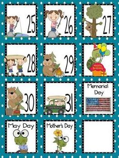 May Calendar Pieces and Book Tally Sheets - FREE on TpT