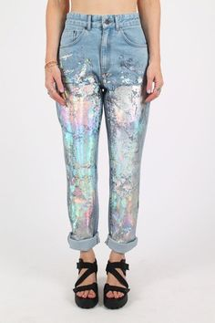 Cool Light Denim High Waisted Jeans With Multicoloured Metallic Detailing Festival Summer Ready