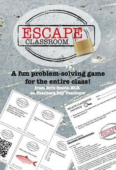 "Modeled after the popular ""Escape Room"" games in many cities around the country, this classroom version prompts students to work together as a class to solve puzzles, connect the clues, and crack the code! Day one Bellringer Escape The Classroom, Future Classroom, School Classroom, Classroom Activities, Classroom Ideas, Kids Escape Room, High School Stem Activities, High School Games, Escape Room Puzzles"