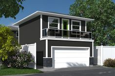 The Contemporary Viron-480 plan is a garage studio/laneway home with 2 car garage at grade level and living space on the second floor. This contemporary plan features: Double car parking with one 16′ wide overhead door Mechanical room on garage level Interior stair to second floor Open concept living space Balcony off living space 1 bedroom, 1 bath with stacking washer/dryer