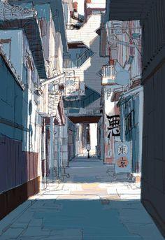 Visual Development for Big Hero 6 by japanese illustrator and Coraline concept artist: Tadahiro Uesugi. (Just imagine the entire San Fransokyo in his artstyle *stars in my eyes*) Japon Illustration, Digital Illustration, Animation Background, Background Drawing, Scenery Wallpaper, Visual Development, Urban Sketching, Environment Design, Environmental Art