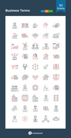 Business Terms  Icon Pack - 50 Line Icons