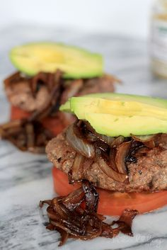 Paleo Burger with Caramelized Balsamic Onions & Avocado