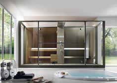 Logica is a sauna and Turkish bath in one unit linked by a stylish shower space. Boasting all the functions of a complete spa, creates the perfect balance of practicality, aesthetics and technology. Jacuzzi, Sauna Steam Room, Sauna Room, Steam Bath, Scandinavian Saunas, Sauna Wellness, Sauna A Vapor, Sauna Hammam, Modern Bathrooms