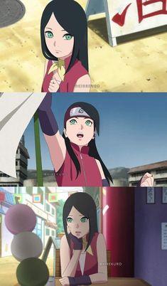 Sarada Uchiha with longer hair and Sakura's eyes 💚 Anime Naruto, Art Naruto, Naruto Comic, Naruto Cute, Naruto Girls, Otaku Anime, Naruto Uzumaki Shippuden, Boruto And Sarada, Naruto Shippuden Sasuke