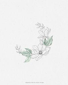 Magnolia Mist watercolor wreath by Skyla Design – Advent Wreath İdeas. Delicate Flower Tattoo, Small Flower Tattoos, Small Tattoos, Teardrop Tattoo, Wreath Tattoo, Magnolia Tattoo, Watercolor Illustration, Flower Wreath Illustration, Floral Doodle