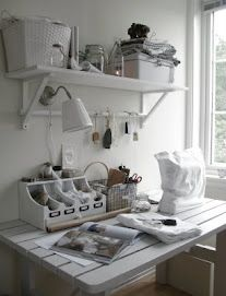 An all white craft room, hmmm it might make it easier for me to find things.