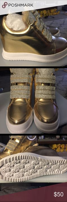 Shoes Gold tone tennis shoes with inside heel.. sparkly and fun,, Mojo Moxy Shoes Wedges