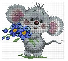 Ideas For Embroidery Patterns Disney Mice Xmas Cross Stitch, Cross Stitch For Kids, Cross Stitch Love, Cross Stitch Cards, Cross Stitch Animals, Cross Stitch Flowers, Cross Stitch Designs, Cross Stitching, Cross Stitch Embroidery