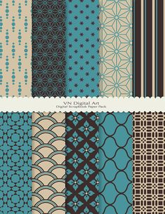 "Japanese Style Digital Scrapbook Paper Pack (8.5x11""-300 dpi) -- 10 Digital papers -- 104. $3.00, via Etsy."