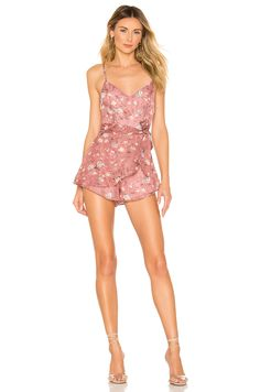 Shop for superdown Ashlie Ruffle Romper in Blush Floral at REVOLVE. Long Romper, Ruffle Romper, White Romper, Long Sleeve Romper, Floral Romper, Wrap Skort, Pop Fashion, Trendy Fashion, Fashion Women