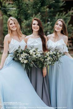 2 Piece Bridesmaid Dress, Bridesmaid Tops, Bridesmaid Separates, Bridal Separates, Bridesmaids, Grey Blue Dress, Boho Wedding Dress, Wedding Dresses, Blue Palette