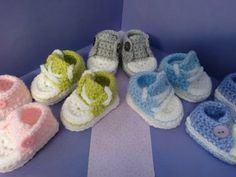 How to crochet my easy petite baby converse style slippers part 1 - YouTube