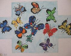 Butterflies Brickcover Needlepoint Canvas
