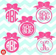 Bow monogram frames frames SVG and studio files for Cricut, Silhouette, Vinyl Cutters and Screen Printing Cricut Monogram Font, Free Monogram, Circle Monogram, Monogram Frame, Diy Screen Printing, Silhouette Cameo Projects, Silhouette Vinyl, Vinyl Cutter, Vinyl Projects