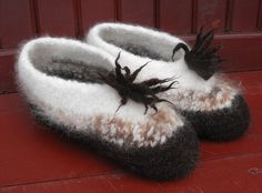 Womens Hand Knitted Felted Wool Slippers - These are CUTE~