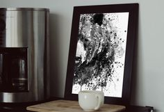 Printable Black and White Watercolor Portrait of a Half Faced Grizzly Bear, Gift under Grizzly poster, Mountain Cabin Art, Bear Lovers Watercolor Paintings Of Animals, Watercolor Portraits, Printing Services, Online Printing, Insects For Sale, Copy Print, International Paper Sizes, Paper Goods, Custom Framing