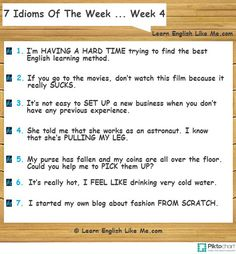 Learn English idioms by using them naturally on a regular basis like native English speakers do! Keep following this series of posts to improve your English!