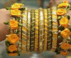 Handmade bangles using gota material and ribbon Silk Thread Bangles Design, Silk Thread Necklace, Silk Bangles, Bridal Bangles, Thread Jewellery, Bridal Jewelry, Lace Jewelry, Diy Jewellery, Flower Jewelry