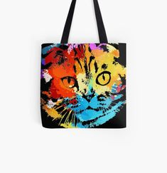 Cool Cat animal print tote bag. Watercolor art work for cat lovers. Animal Print Tote Bags, Beagle Art, Dog Artwork, Kawaii Cat, Cat Dad, Cute Pugs, Cat Colors, Baby Owls, Watercolor Art