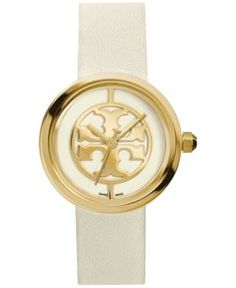 Tory Burch Women's Swiss Reva Ivory Leather Strap Watch 36mm TRB4023 - Ivory/Cream