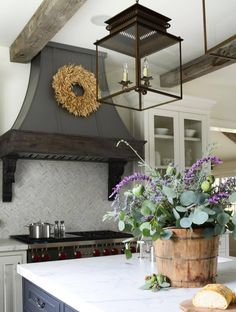 Farmhouse kitchen #RangeHoods #FarmhouseLamp