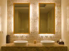 Contemporary bathroom light fixtures are no longer boring. Contemporary Bathroom Lighting, Bathroom Lighting Design, Bathroom Mirror Lights, Bathroom Light Fixtures, Modern Bathroom, Small Bathroom, Vanity Mirrors, Backlit Mirror, Bathroom Wall