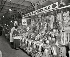 """Eat Your Veggies :-) Washington, D. Shipp Co."""" Delectable produce from all points of the compass, fetchingly arrayed. Vintage Photographs, Vintage Photos, Vegetable Stand, Boston Public Library, University Of Southern California, Library Of Congress, High Resolution Photos, Historical Society, Photo Archive"""