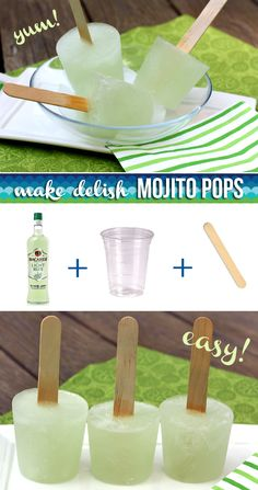 Mojito Popsicles - perfect treat idea for Parties! Summer Parties, Summer Drinks, Smoothies, Party Drinks, Cocktails, Cocktail Drinks, Popsicle Recipes, Summer Treats, Frozen Treats