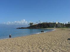 View of black rock on Ka'anapali Beach  #Kaanapali #Maui #Hawaii