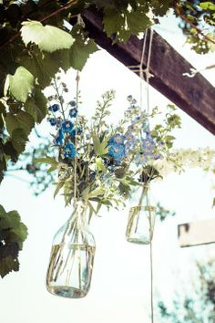 Hanging Flowers / Sam & Liam's Rustic Garden Wedding (instagram: the_lane)