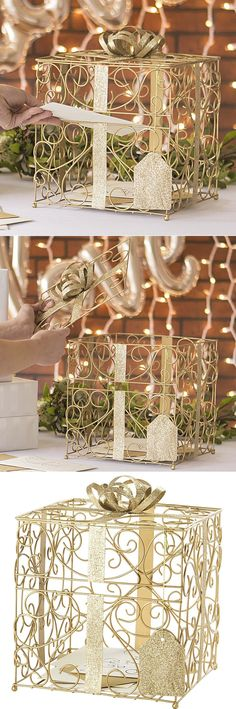 Wedding Gift Card Holder idea - This gold finish scrolled wire gift card holder looks just like a present complete with metal ribbon band and bow with lots of room for guests to insert gift cards as they enter the wedding reception hall.