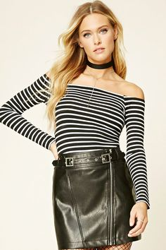42e56b73a 12.90 Forever 21 Contemporary - A knit top featuring an off-the-shoulder  collar