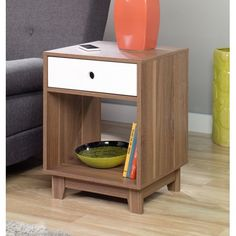 Sauder Soft Modern Wood Side Table, Walnut Finish, White Accent with 1 Drawer and 1 Shelf Bedside Tables For Sale, Open Shelving, Shelves, Sauder Woodworking, Woodworking Ideas, Freedom Furniture, Side Table With Storage, Modern End Tables, Walnut Finish