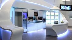 Oulin-Kitchen Design From Japan.  Funky Kitchen Designs of Futuristic kitchen designs with hydroponic herbs/vegs on tap
