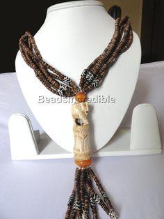 Vintage Ethnic Naga Tribal Handmade Elephant Hand Carved Bone Banjara Necklace Rare Piece