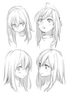 Ideas drawing anime head artists for 2019 - - Drawing Hair Tutorial, Manga Drawing Tutorials, Drawing Tips, Drawing Ideas, Sketch Drawing, Anime Drawings Sketches, Anime Sketch, Hair Drawings, Drawing Expressions