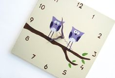 Children's Wall clock- Hand painted on canvas- Two Purple owls on a branch- Cream/ Antique White clock for nursery. $30.00, via Etsy.
