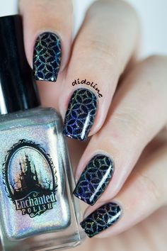 Lilypad Lacquer by Rainbows in Space stamped with Dime Piece by Enchanted Polish  ✒ fr : http://didolines-nails.com/2015/02/lilypad-lacquer-rainbows-space-stamping.html/ ✒ en : http://didolines-nails.com/en/2015/02/lilypad-lacquer-rainbows-space-stamping.html/