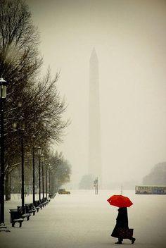겨울 워싱턴 DC/ 도시, 눈과 빨간색우산
