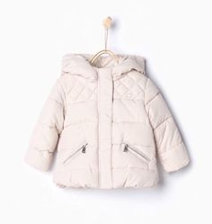 Zara Infant Girl Ecru Quilted Jacket with Hood Size 3 6 Months | eBay