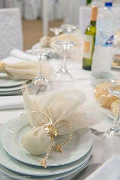 Μπομπονιέρα γάμου με γάζα εκρού - μόκα