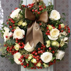 Christmas Ivory Rose and Herb Door Wreath...scented heaven to welcome guests!