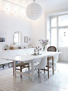 white & wood dining